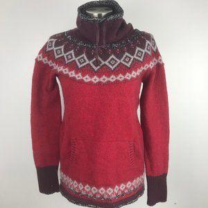 Eddie Bauer Womens Sweater M Wool Blend Red Gray